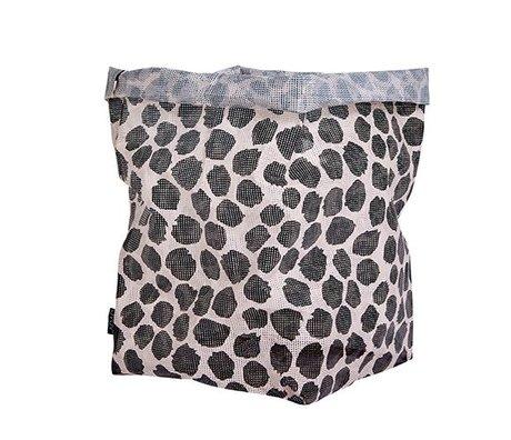 OYOY Panier de rangement canular flaque polyester noir et blanc 30x30x54cm