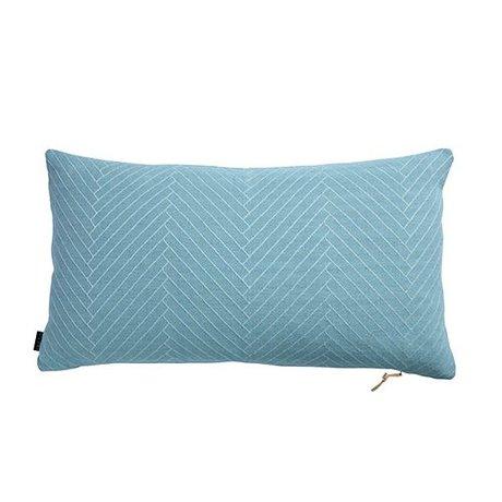OYOY soffici cuscini a spina di pesce azzurro di cotone 40x70cm
