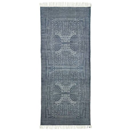 Housedoctor Teppich Iza grau weiße Baumwolle 90x200cm