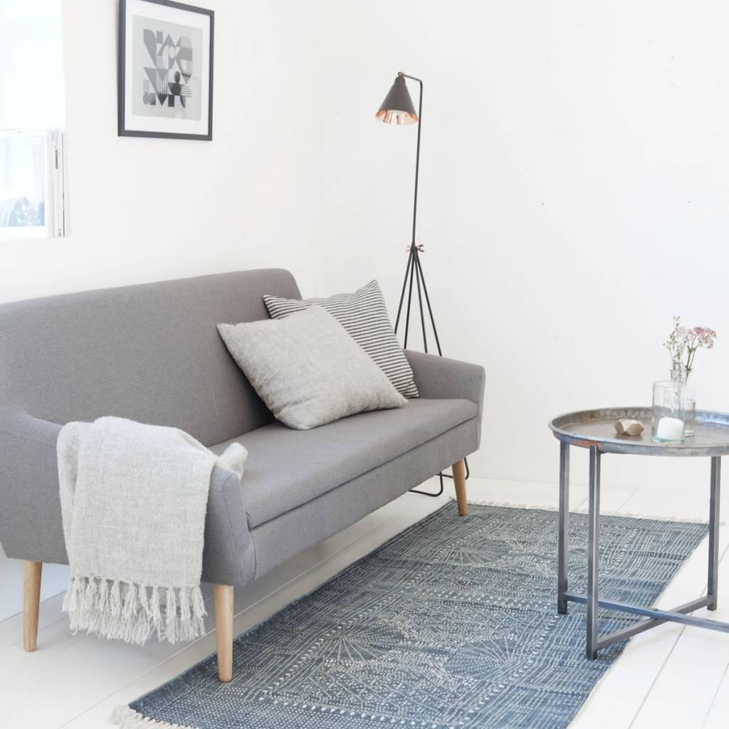 housedoctor teppich iza grau wei e baumwolle 90x200cm. Black Bedroom Furniture Sets. Home Design Ideas