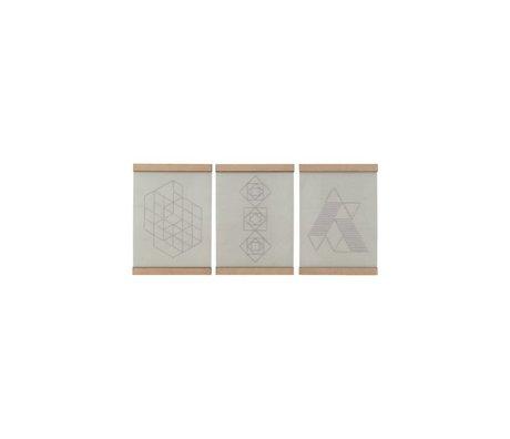 Housedoctor Scuola di ricamo piatto set di tre bianco cotone naturale del legno 21x30cm