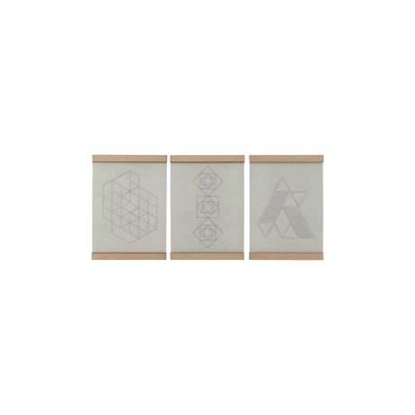 Housedoctor École de broderie plaque ensemble de trois coton blanc naturel bois 21x30cm