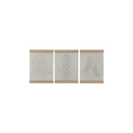 Housedoctor Escuela de bordado juego de placas de tres blancas de algodón natural 21x30cm madera