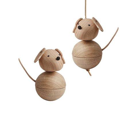 OYOY cane decorazione leika naturale legno marrone Ø5,5x9cm