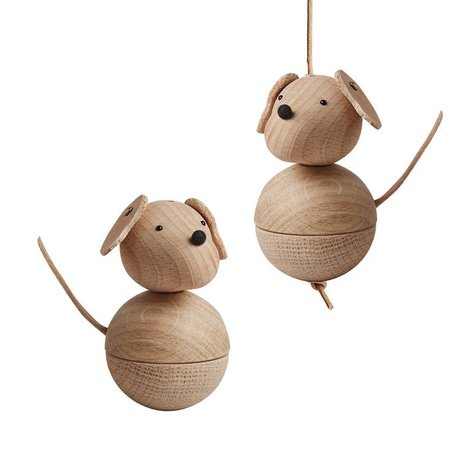 OYOY Decoration dog leika natural brown wood Ø5,5x9cm