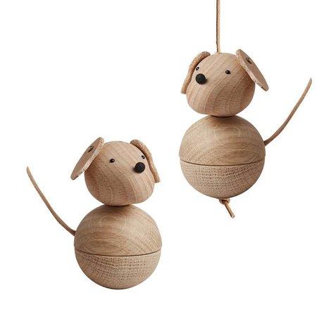 OYOY perro decoración de madera marrón natural leika Ø5,5x9cm