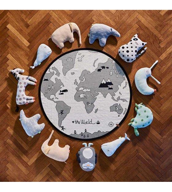 OYOY Teppich der Welt, SchwarzWeißBaumwolle Ø135cm