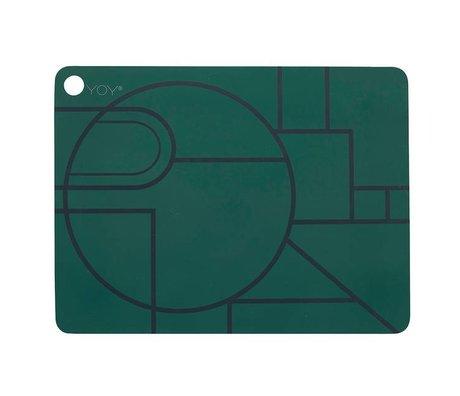 OYOY Ponyo placemat iki koyu yeşil, siyah silikon 45x34x0,15cm set