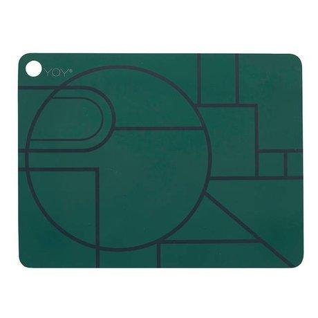OYOY Ponyo mantel conjunto de dos 45x34x0,15cm de silicona negro de color verde oscuro
