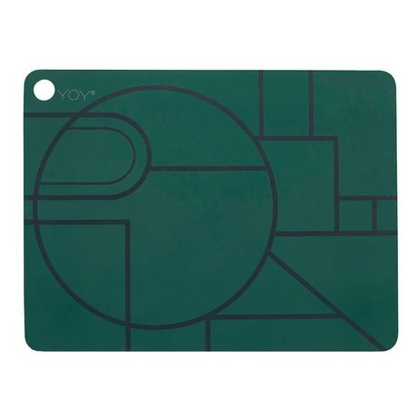 OYOY Ponyo Platzdeckchen Set bestehend aus zwei dunkelgrün schwarz Silikon 45x34x0,15cm