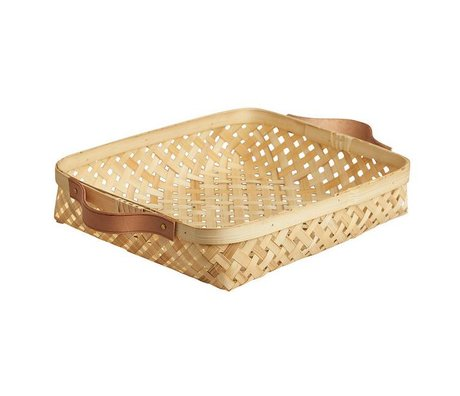 OYOY Basket Sporta small natural brown bamboo 25x30x5,5cm