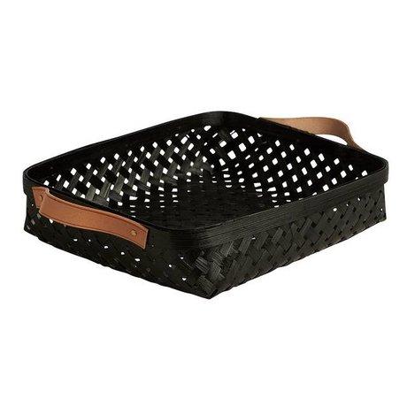 OYOY Basket Sporta lille sort bambus 25x30x5,5cm