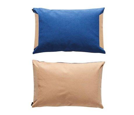 OYOY Coussin verso bleu poudre coton rose 40x60cm