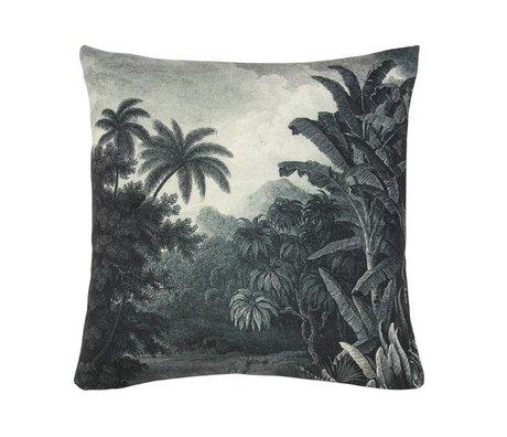 HK-living Cuscino giungla verde bianco, di cotone, 45 x 45 cm