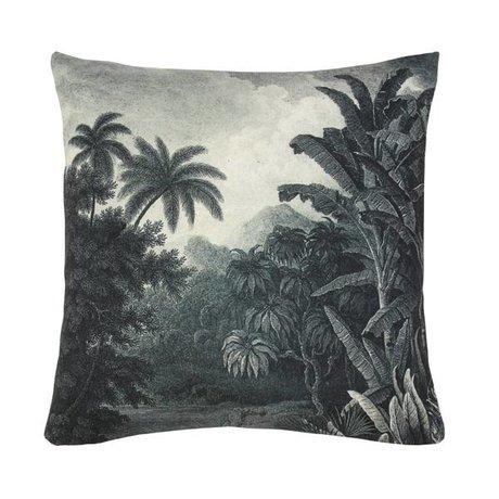 HK-living Coussin blanc vert jungle, coton, 45 x 45 cm