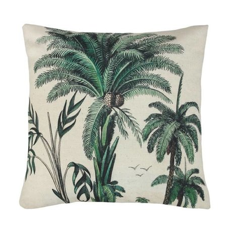 HK-living Coussin palme verte coton blanc 45x45cm