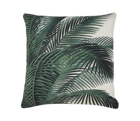 HK-living Coussin feuille de palmier vert coton blanc 45x45cm