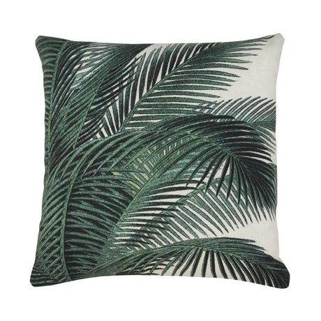 HK-living Kissen Palmblatt grün weißer Baumwolle 45x45cm