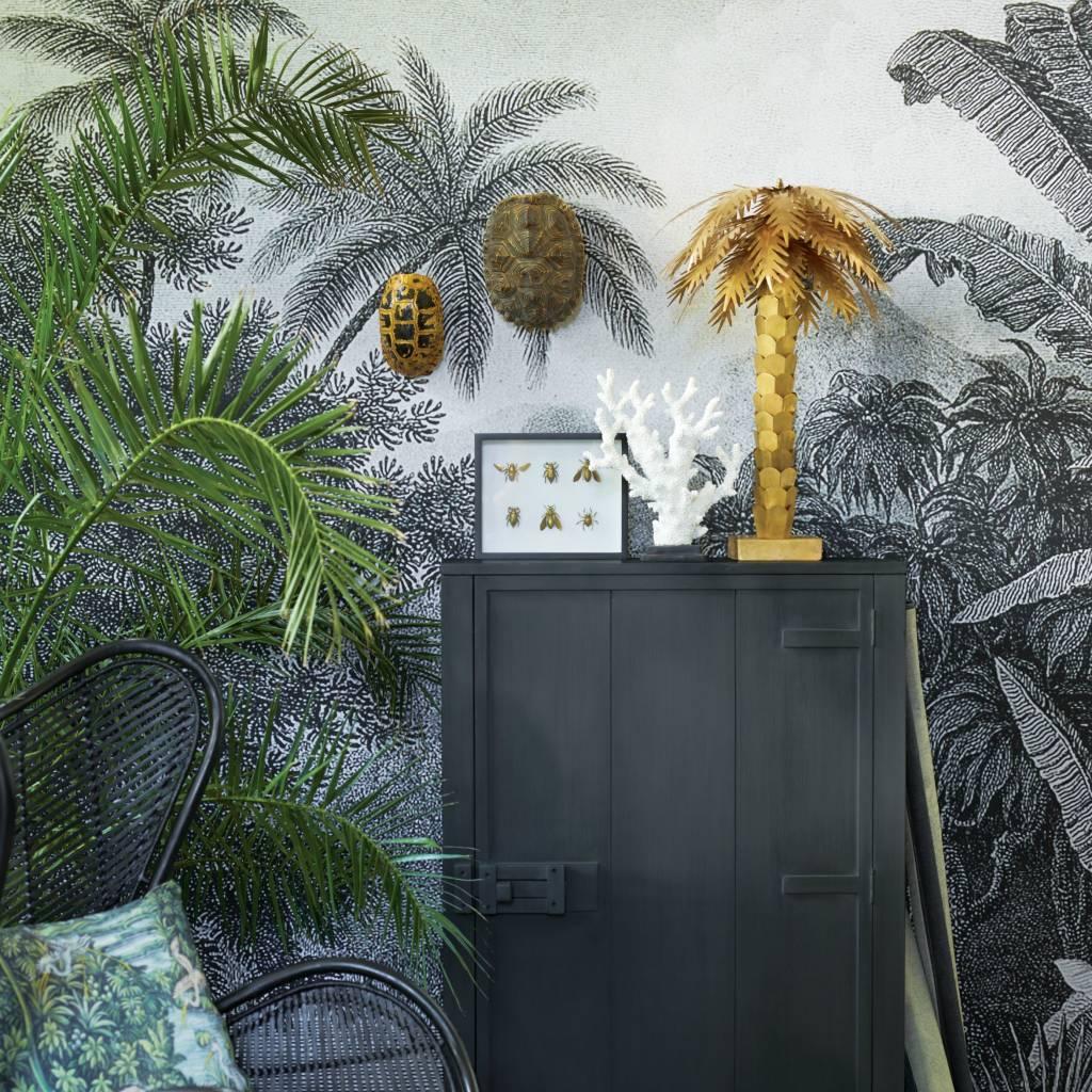 hk living tischlampe palm goldmessing 45x45x68cm. Black Bedroom Furniture Sets. Home Design Ideas