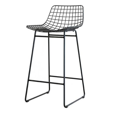HK-living Barhocker, schwarz, Stahldraht, 42 x 47 x 89 cm