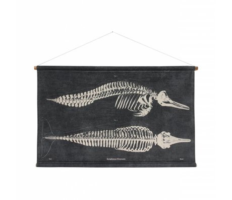 HK-living Bild Delfin gedruckt, schwarz, Baumwolle, Holz, 115 x 65 x 2,5 cm