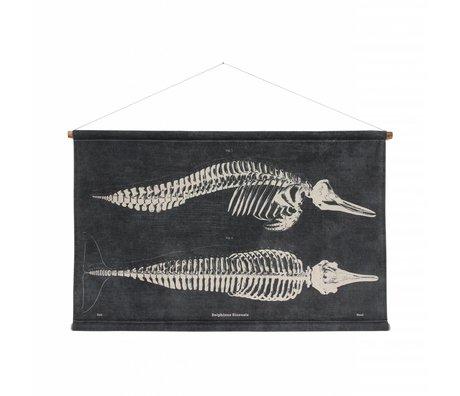 HK-living Schule Poster Dolphin gedruckt schwarze Baumwoll Holz 115x65x2,5cm