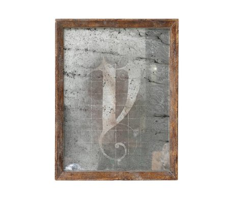 HK-living Miroir brun 25x32,5x3,5cm bois