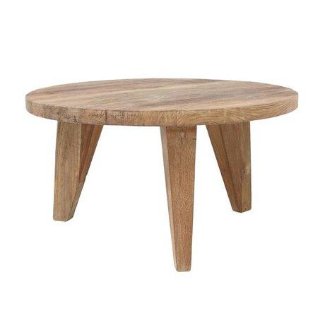 HK-living Table basse ronde en teck bois brun 65x65x35,5cm