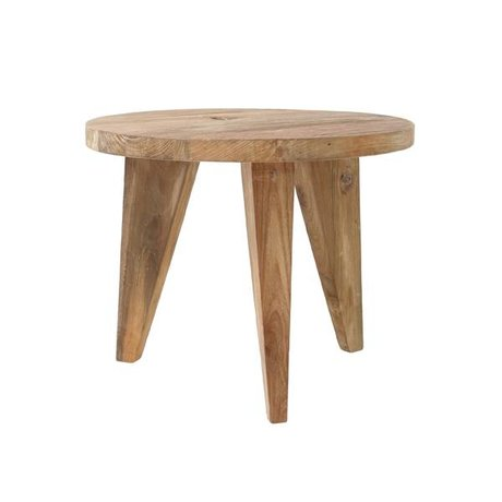 HK-living Coffee table round brown teak wood 50x50x41cm