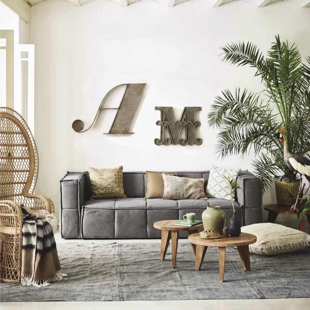 hk living kaffeetisch runden braunen teak holz 50x50x41cm. Black Bedroom Furniture Sets. Home Design Ideas