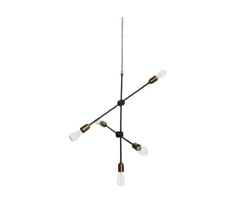 Housedoctor Molekylær hængende lampe sorte guld metal 78x68cm