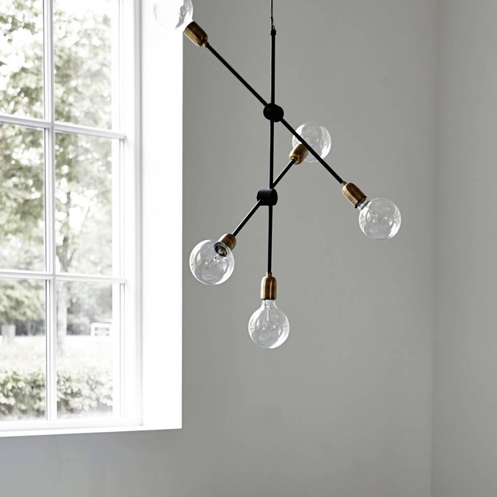 housedoctor molekulare h ngelampe schwarz gold metall 78x68cm. Black Bedroom Furniture Sets. Home Design Ideas