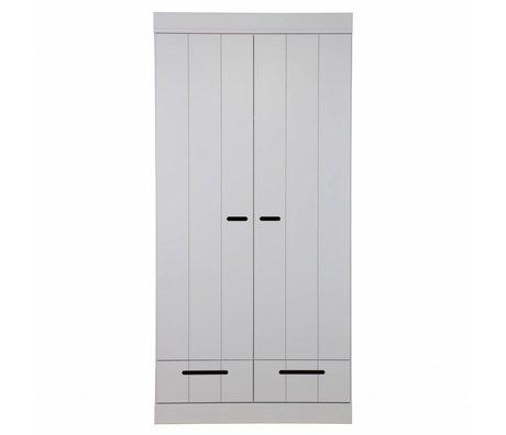 LEF collections 2 Türenschrank Connect Leisten Tür mit Schubladen Beton grau Kiefer 195X94X53cm