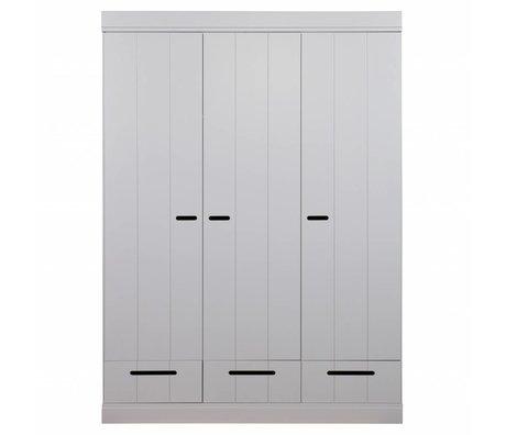 LEF collections çekmeceli beton gri çam 195X140X53cm ile şerit kapı bağlayan 3 kapı gardırop