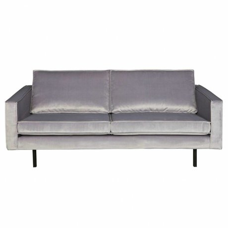 BePureHome Banco Rodeo 2,5-asiento luz de terciopelo gris de terciopelo 190x86x85cm