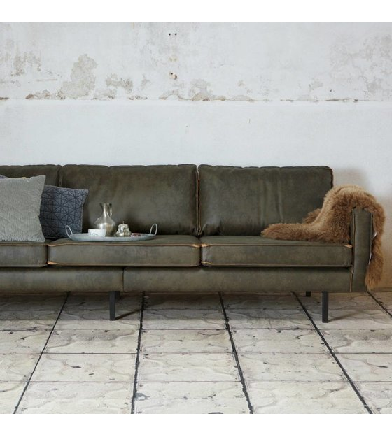 3 Seater Sofa Rodeo Army Green Leather 85x277x86cm