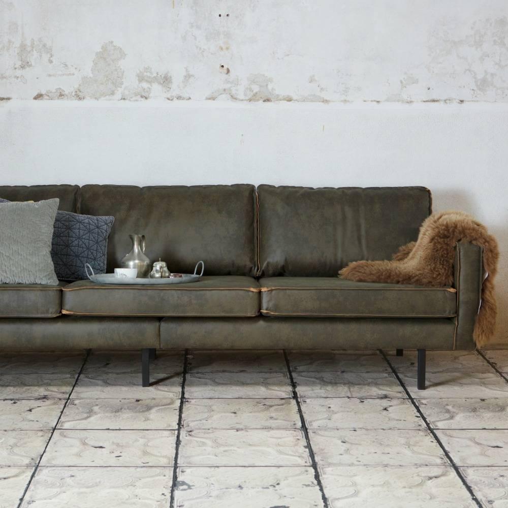 3 sitzer sofa rodeo armee gr nes leder 85x277x86cm. Black Bedroom Furniture Sets. Home Design Ideas