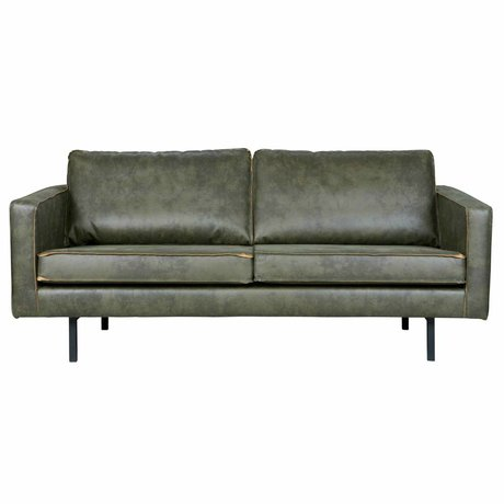 BePureHome Bank Rodeo 2.5-seat army green leather 190x86x85cm