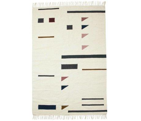 Ferm Living Tæppe farve trekanter farverige tekstil 140x200cm