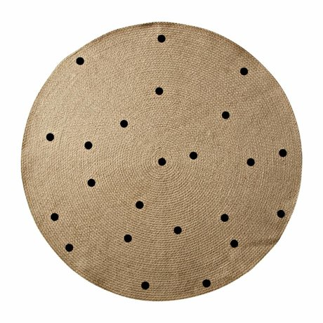 Ferm Living Carpet Dots al naturale ø100cm nero