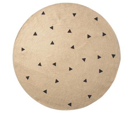 Ferm Living trangles tappeto naturale ø130cm nero
