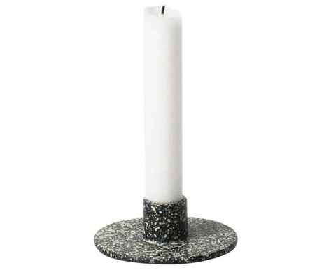Ferm Living Candlestick Spotted black iron ø9x3,3cm
