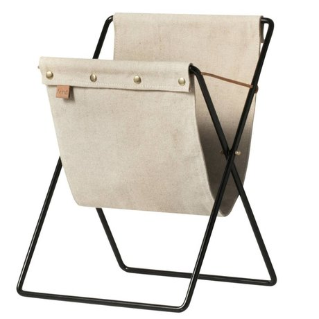 Ferm Living brown canvas Magazine portariviste in metallo 51x33x31cm nero