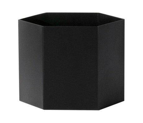 Ferm Living pote negro del hexágono Ø18x14cm Extra Grande