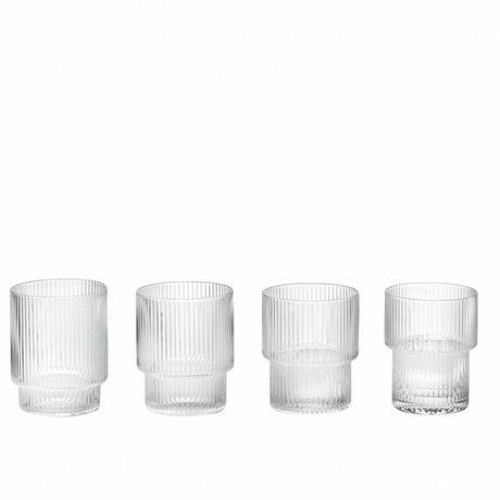 Ferm Living Ripple Glass transparent glas ø8,8x7cm sæt af 4