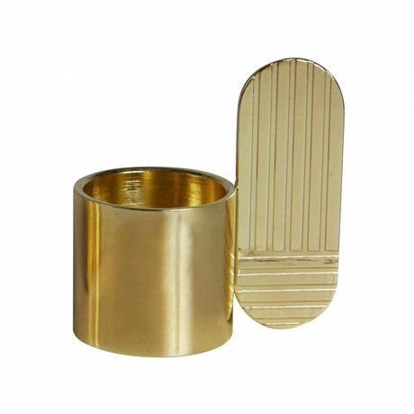 OYOY Candeliere ART ottone ovale in metallo oro ⌀7,5x8cm