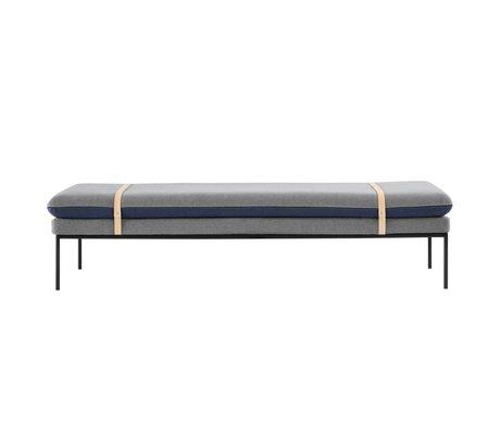 Ferm Living méridienne bancaire coton bleu 190x42x80cm