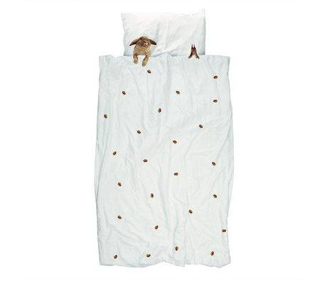 Edredón Furry Friends blanca de algodón de franela marrón 240x200 / 220cm