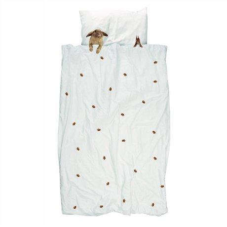 Snurk Beddengoed Edredón Furry Friends blanca de algodón de franela marrón 240x200 / 220cm
