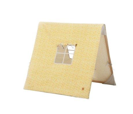 Ferm Living Aksel sammenklappelig telt karry gul bomuld / træ 100x100xcm